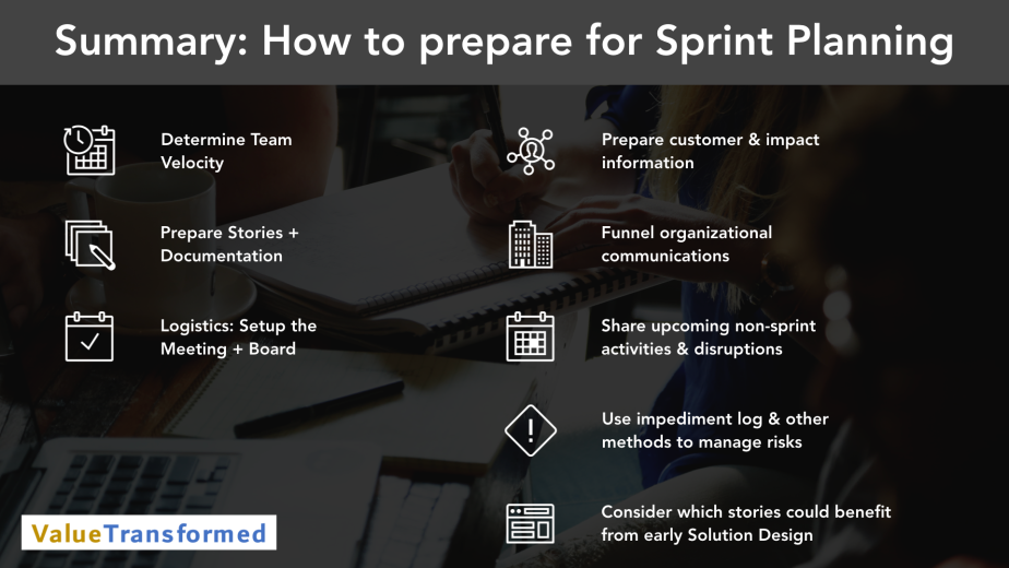 Keynote Video Summary - Scrum Master - Prepare for Sprint Planning - Summary.001